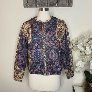 H&M Women's Quilted Printed Bomber Jacket Size 8